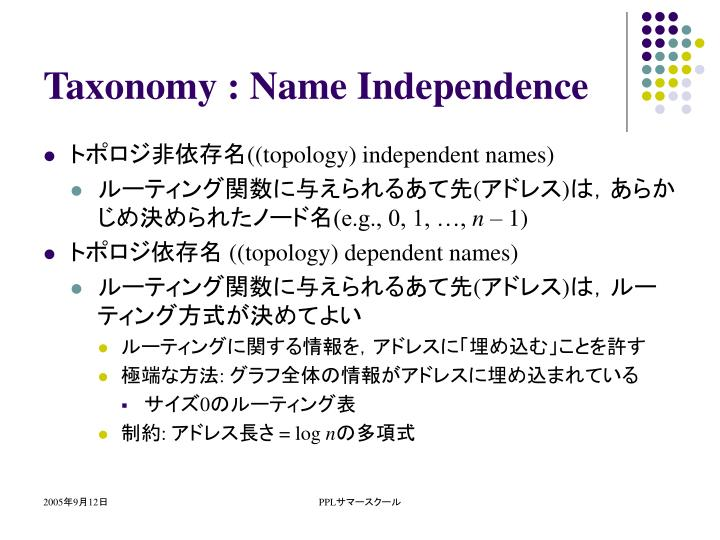 Taxonomy : Name Independence