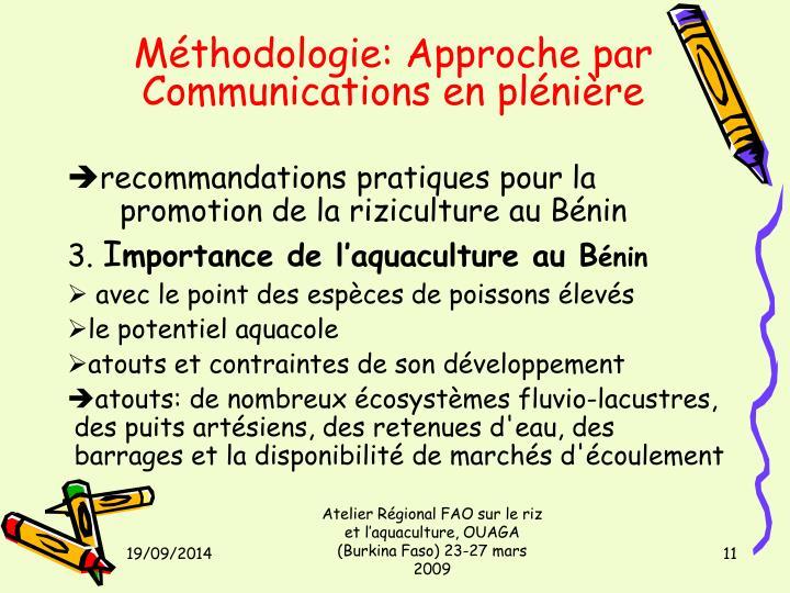 Méthodologie: Approche par Communications en plénière
