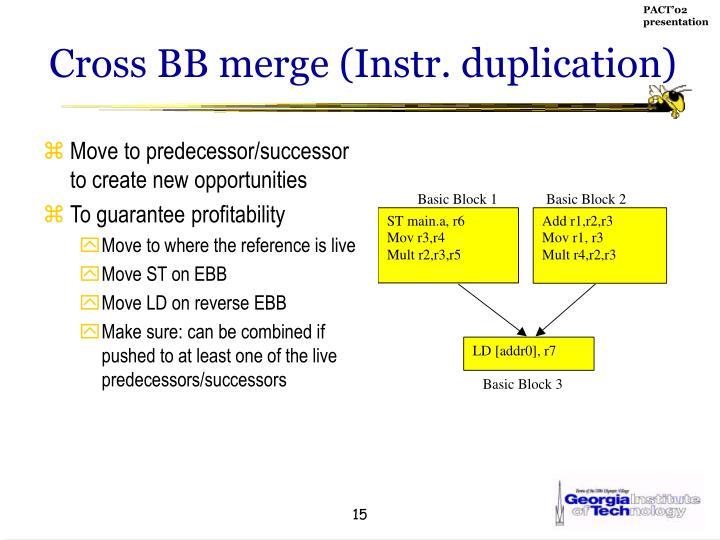 Cross BB merge (Instr. duplication)