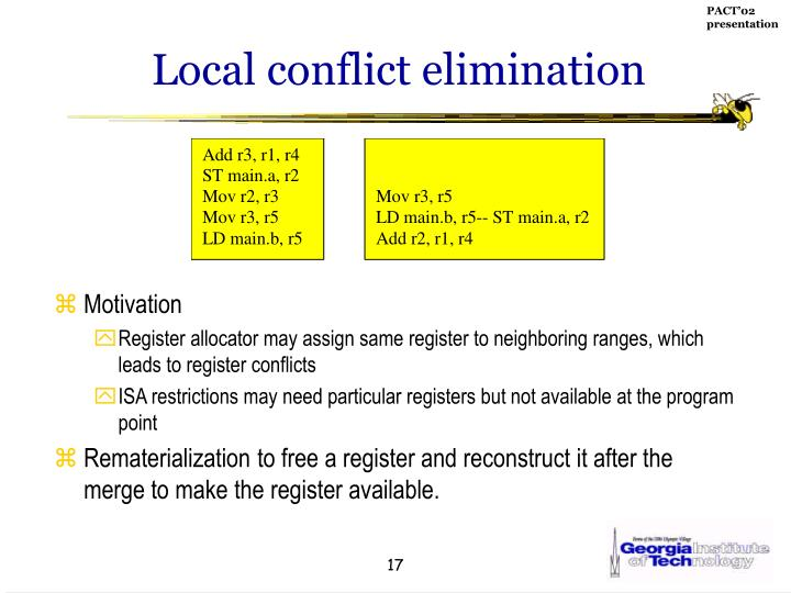Local conflict elimination