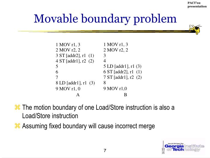 Movable boundary problem