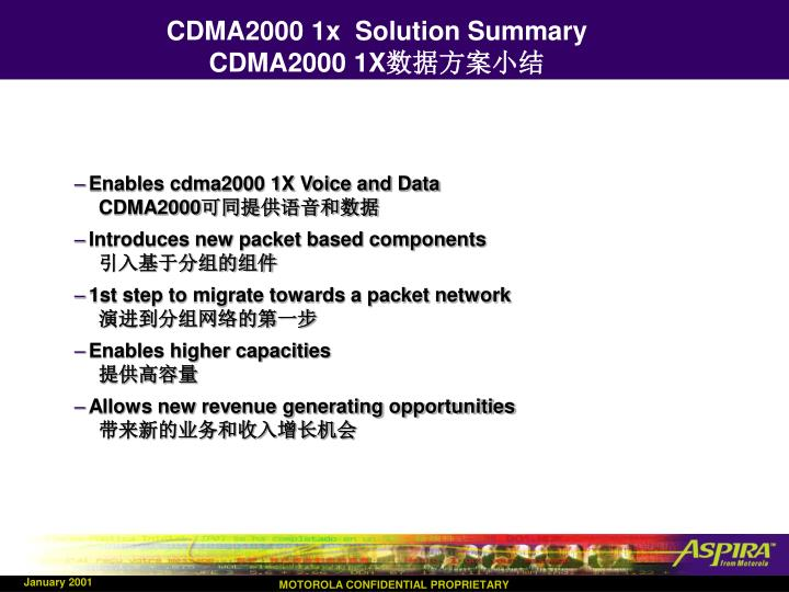 CDMA2000 1x  Solution Summary