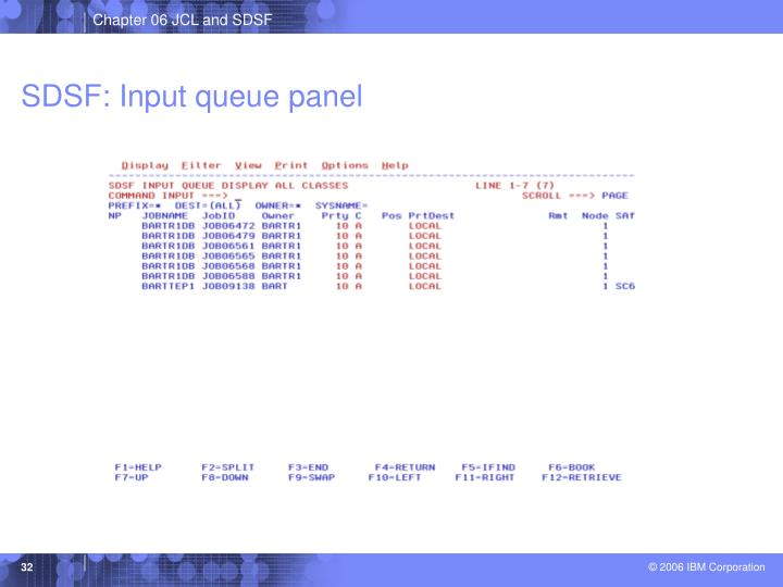 SDSF: Input queue panel