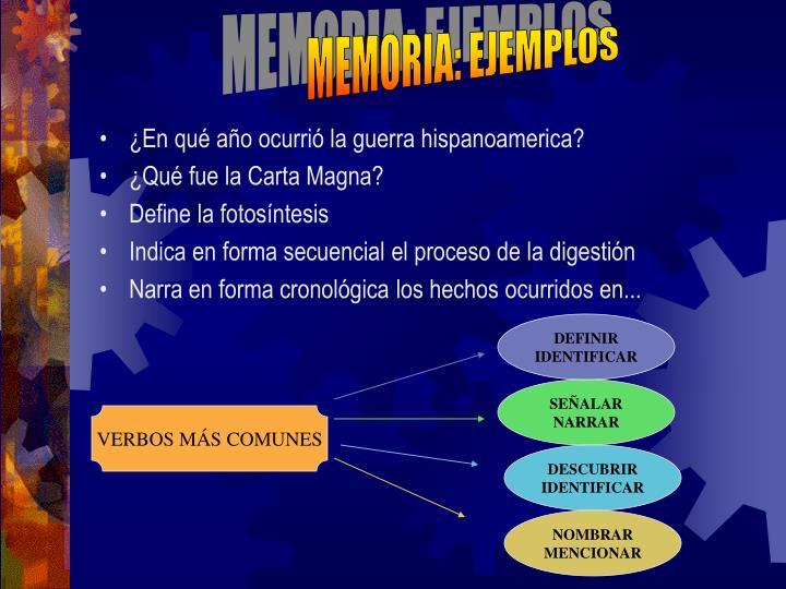 MEMORIA: EJEMPLOS