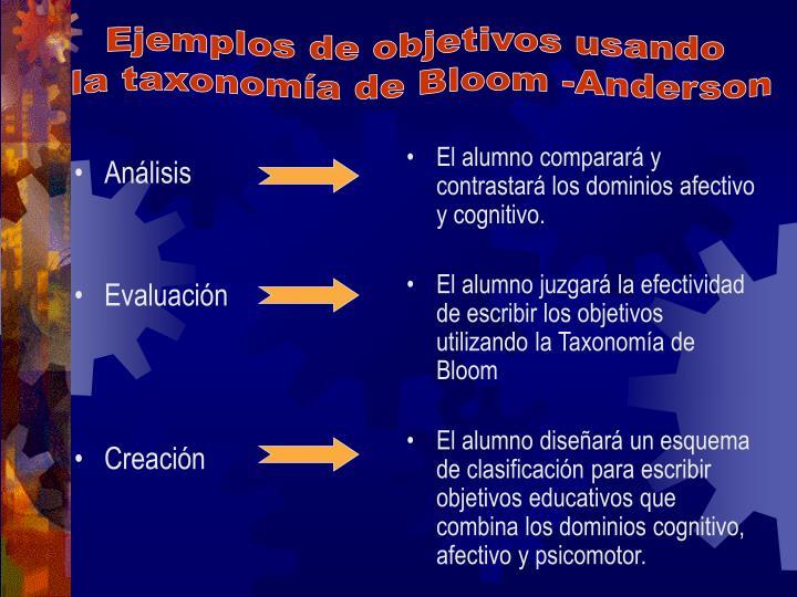 Ejemplos de objetivos usando