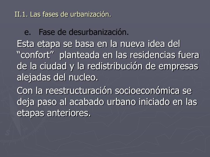 II.1. Las fases de urbanización.