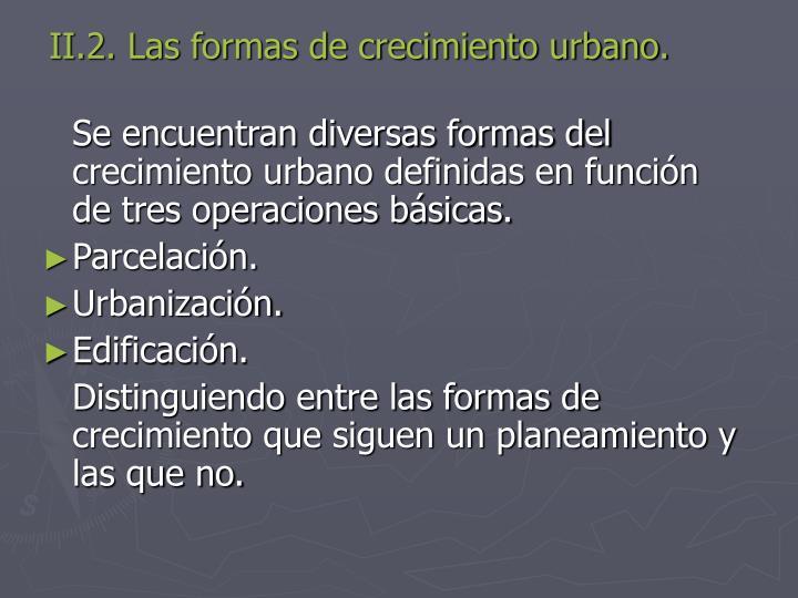 II.2. Las formas de crecimiento urbano.
