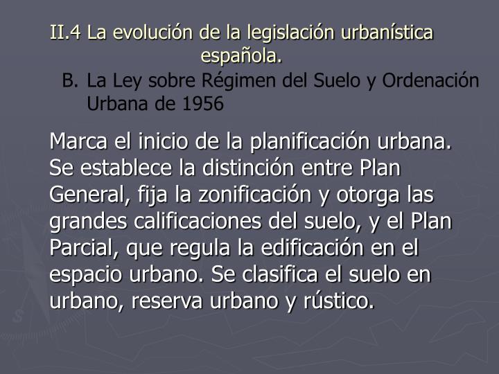 II.4 La evolución de la legislación urbanística española.