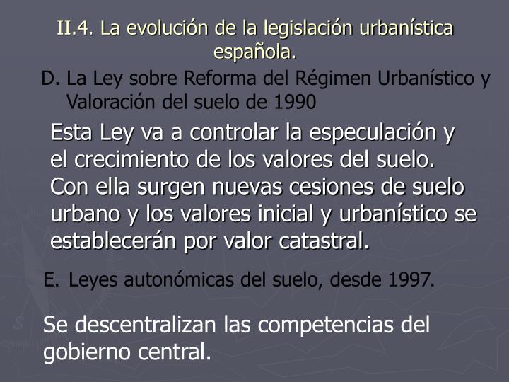II.4. La evolución de la legislación urbanística española.