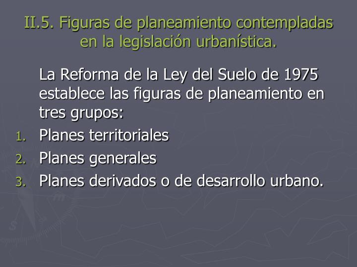 II.5. Figuras de planeamiento contempladas en la legislación urbanística.
