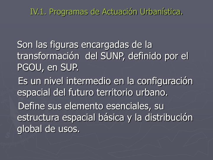 IV.1. Programas de Actuación Urbanística.