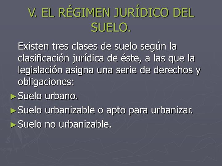 V. EL RÉGIMEN JURÍDICO DEL SUELO.