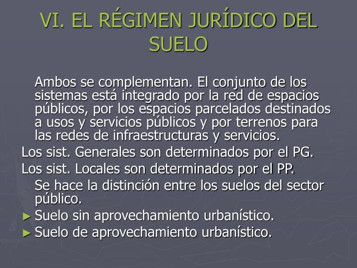 VI. EL RÉGIMEN JURÍDICO DEL SUELO