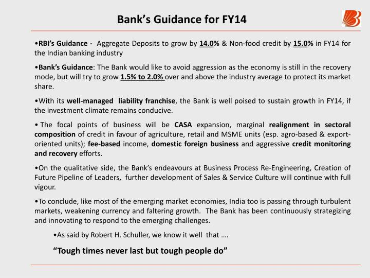 Bank's Guidance for FY14