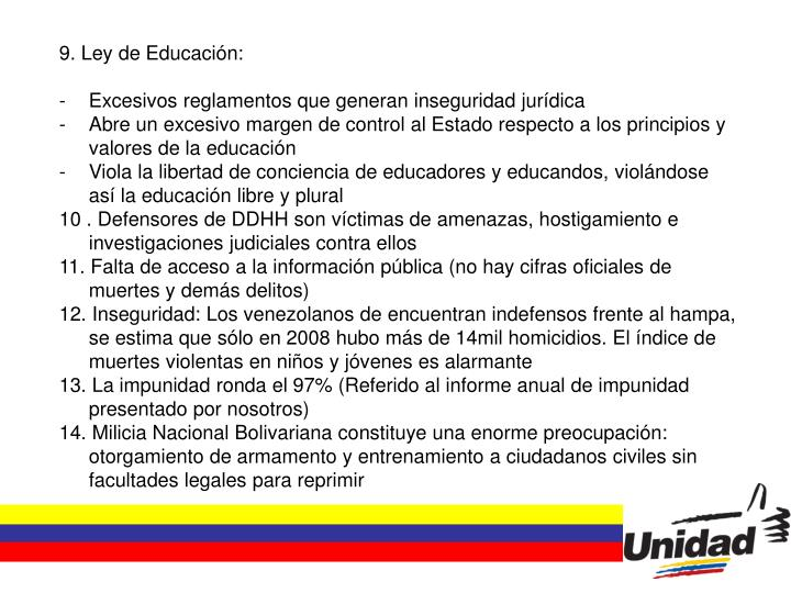 9. Ley de Educación: