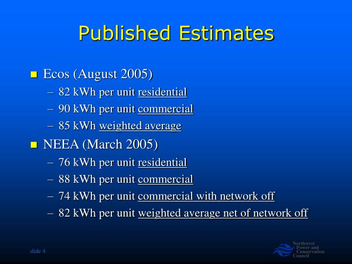 Published Estimates