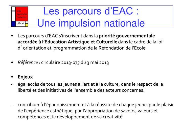 Les parcours d'EAC :