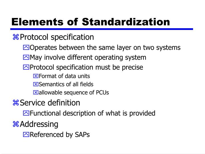 Elements of Standardization