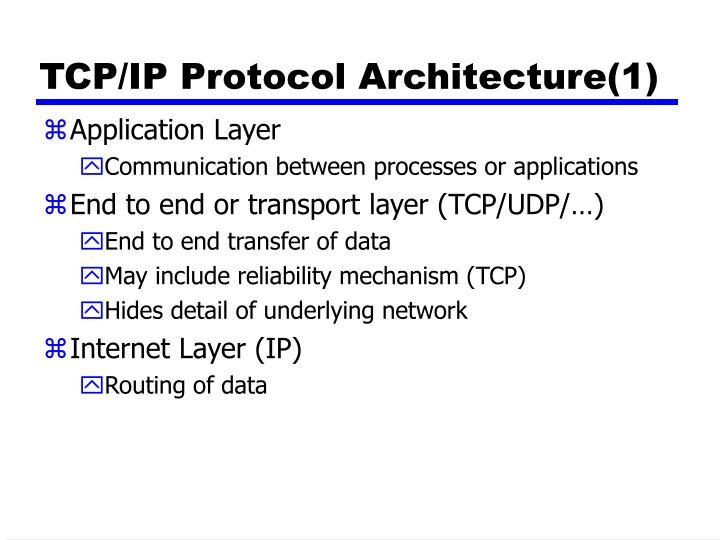 TCP/IP Protocol Architecture(1)
