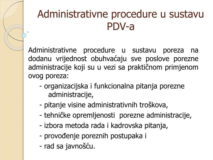Administrativne procedure u sustavu