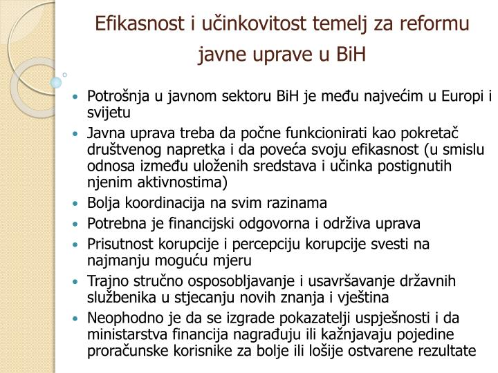 Efikasnost i učinkovitost temelj za reformu javne uprave u BiH