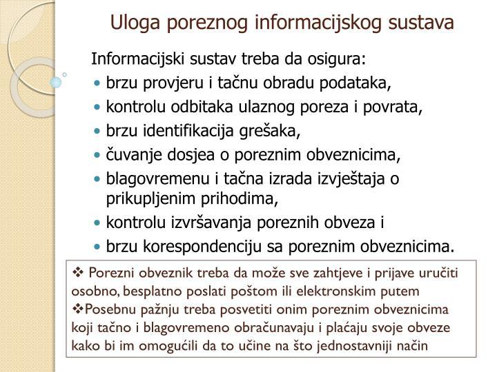 Uloga poreznog informacijskog sustava