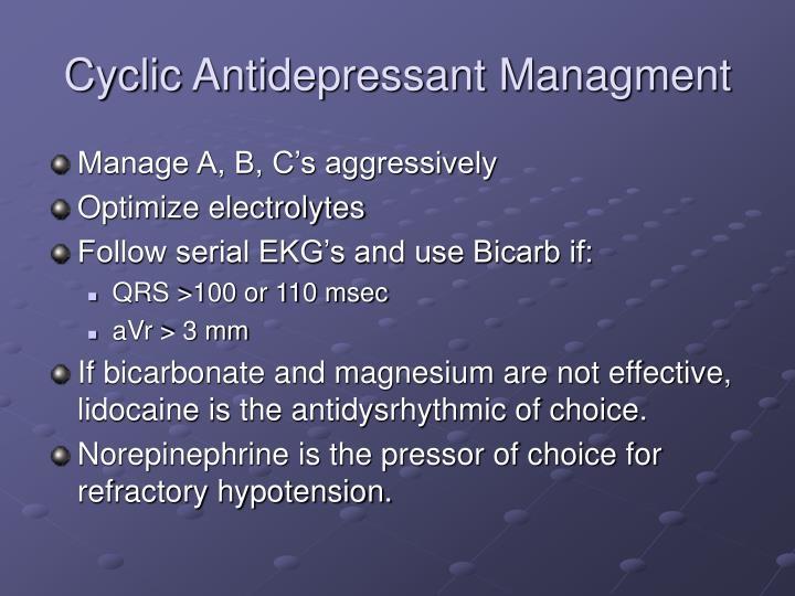 Cyclic Antidepressant Managment
