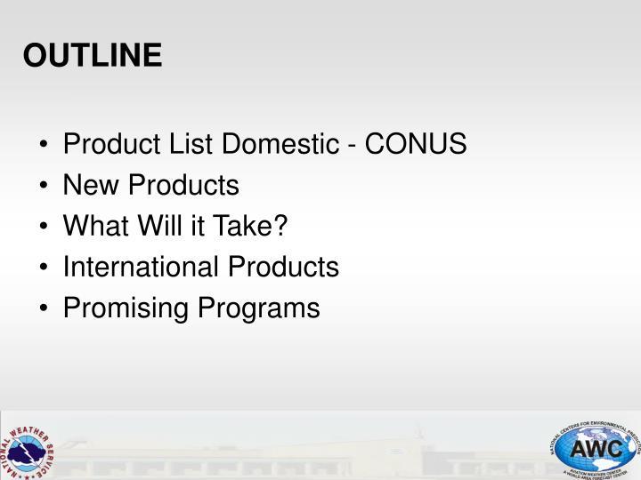 Product List Domestic - CONUS