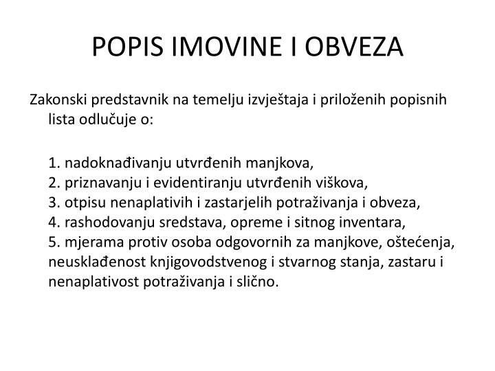 POPIS IMOVINE I OBVEZA