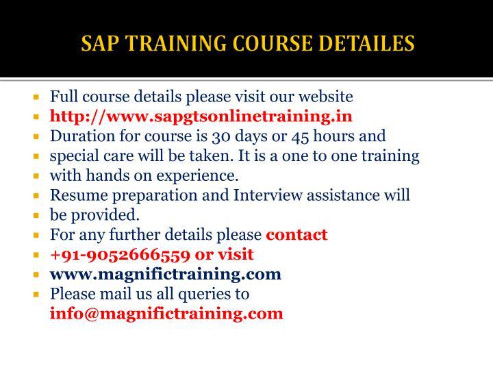 SAP TRAINING COURSE DETAILES