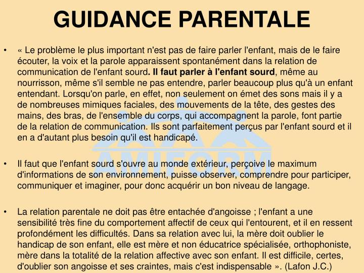 GUIDANCE PARENTALE