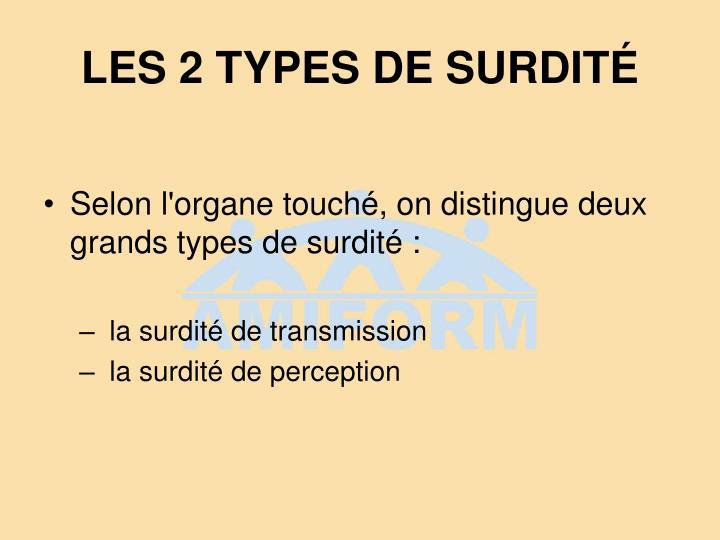 LES 2 TYPES DE SURDITÉ