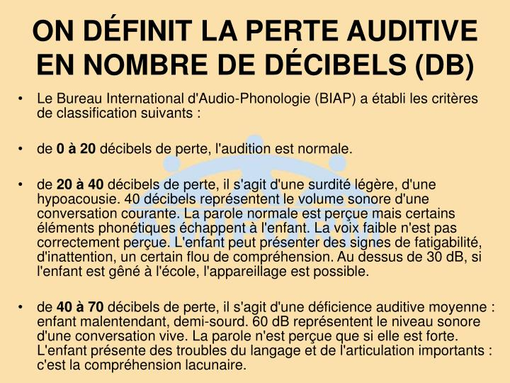ON DÉFINIT LA PERTE AUDITIVE EN NOMBRE DE DÉCIBELS (DB)