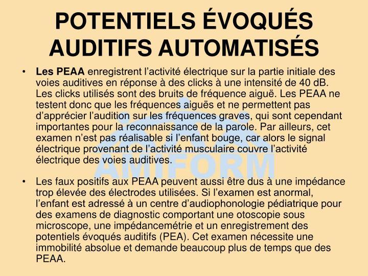 POTENTIELS ÉVOQUÉS AUDITIFS AUTOMATISÉS