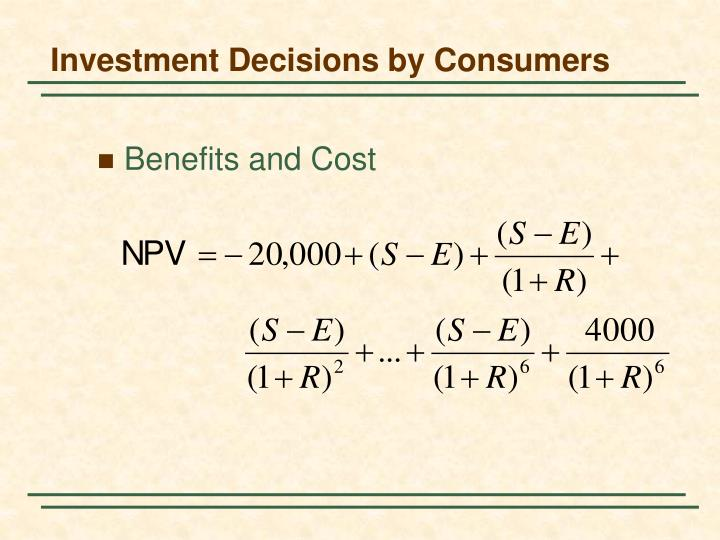 Investment Decisions by Consumers