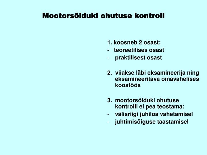Mootorsõiduki ohutuse kontroll