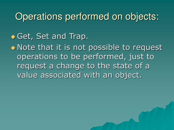 Operations performed on objects: