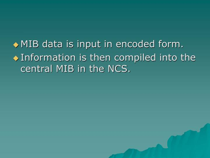 MIB data is input in encoded form.