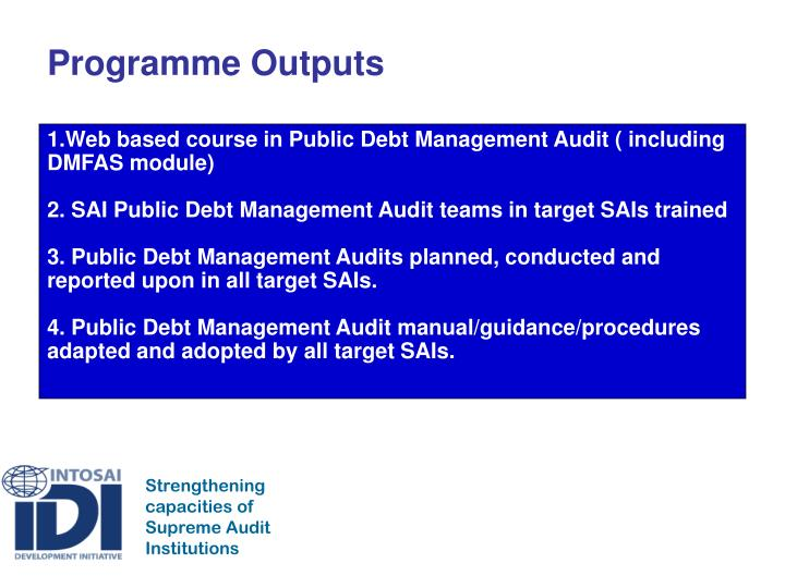 Programme Outputs