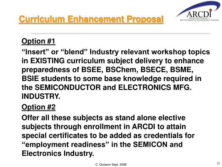Curriculum Enhancement Proposal