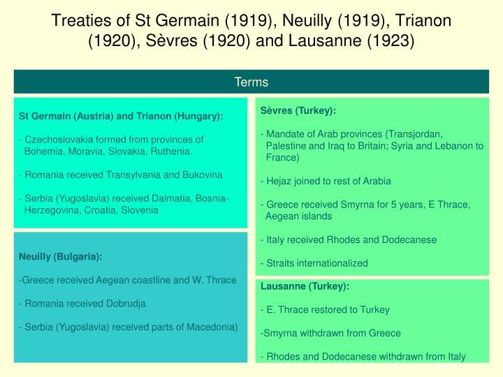 Treaties of St Germain (1919), Neuilly (1919), Trianon (1920), S