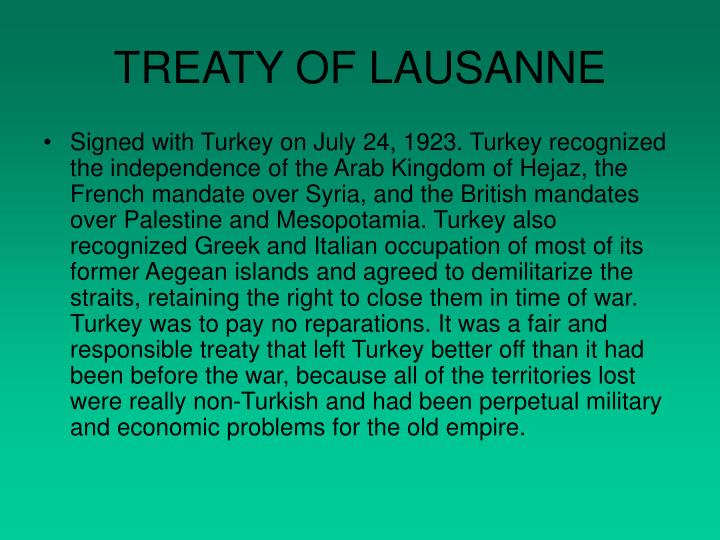TREATY OF LAUSANNE