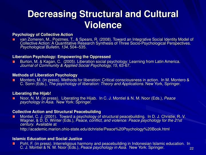 Decreasing Structural and Cultural Violence