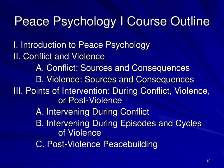 Peace Psychology I Course Outline