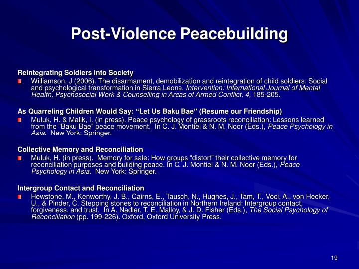 Post-Violence Peacebuilding