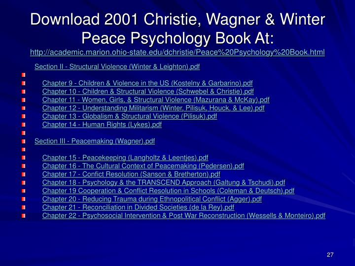 Download 2001 Christie, Wagner & Winter