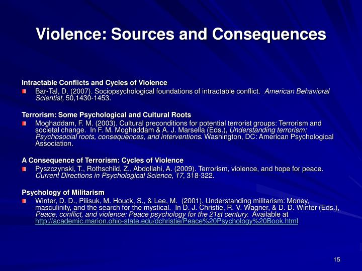 Violence: Sources and Consequences