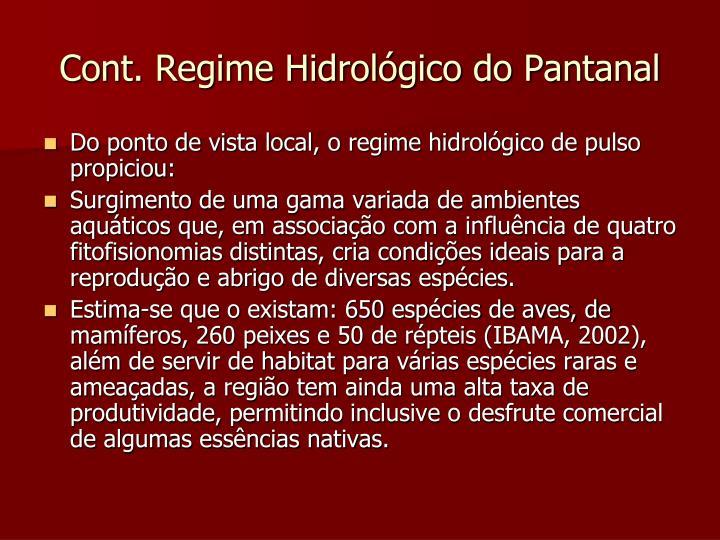 Cont. Regime Hidrológico do Pantanal