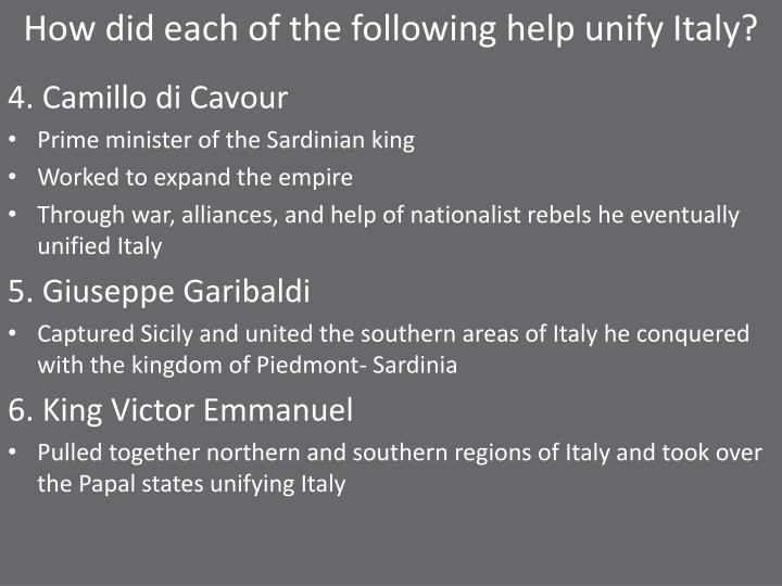 How did each of the following help unify Italy?