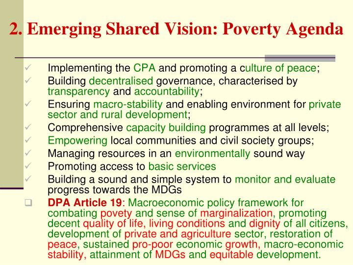 2. Emerging Shared Vision: Poverty Agenda